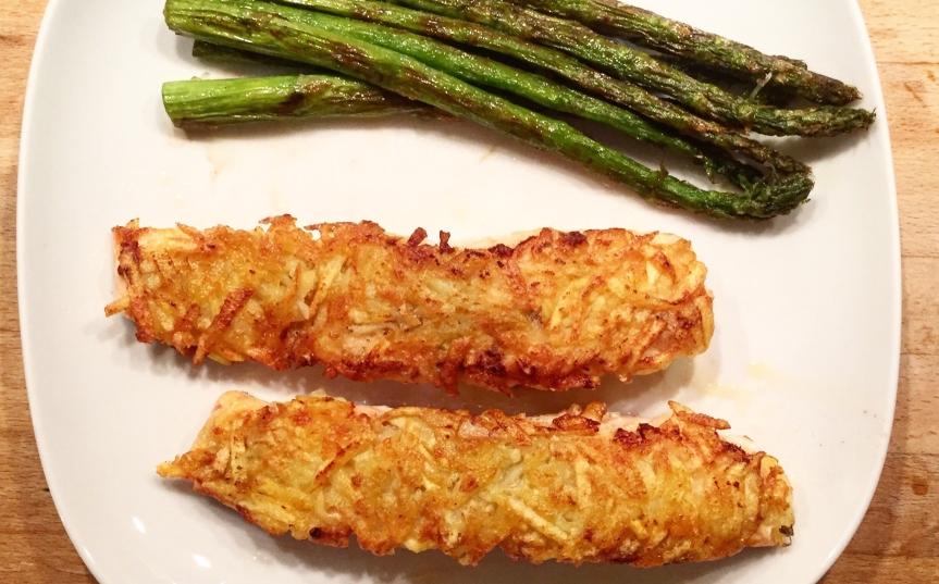 Lachs mit Kartoffelkruste und grünemSpargel