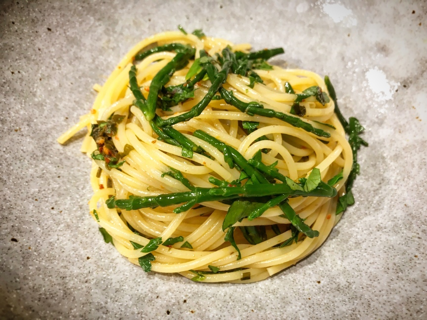 Spaghetti, Sardellen, Salicornes